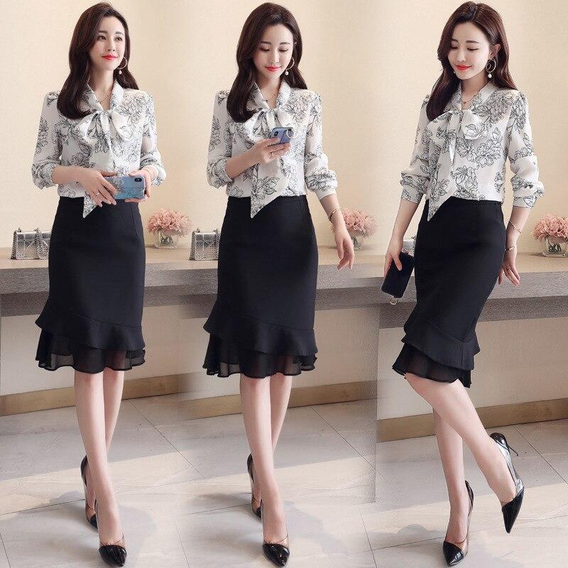 Trend Simple Cool Slimming Slim Fit Versatile Elegant Casual Suit Skirt 2019 Spring Sleeve