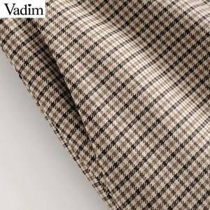Image 4 - Vadim elegante para mujer houndstooth plaid midi falda cremallera fly bolsillos dividido a cuadros mujer Oficina wear chic faldas BA895