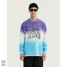 Cooo Coll 19SS Women Men Loose Dyeing Print T-shirt Hip Hop Asap Rocky Loog Sleeve Justin Bieber High Street Tops Tees Tshirt