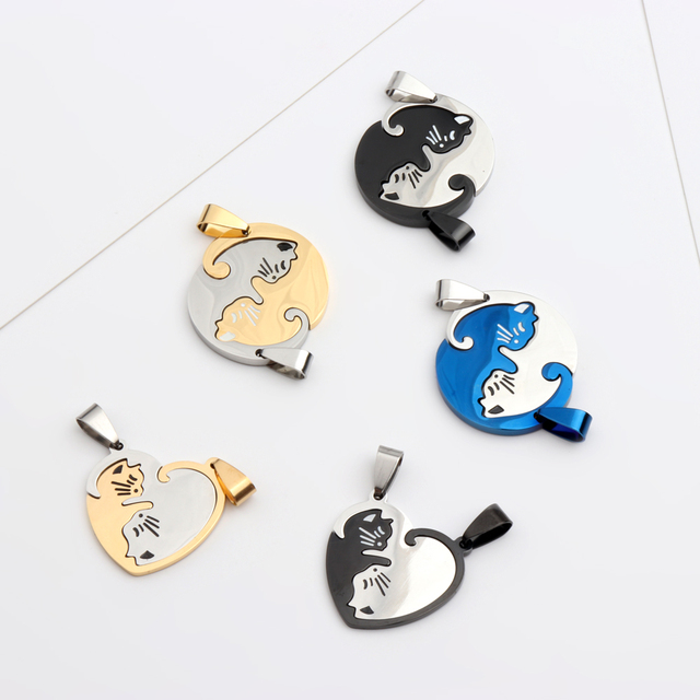 Blue Black Gold Color Stainless Steel Pairs Couple Cat Pendant Necklace Gift Jewelry For Girl Boys