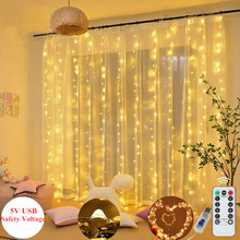 3M LED Garland Curtain Lights USB Powered Fairy Strings Remote Control Warm White Christmas Party Home Window Decorative Lamp