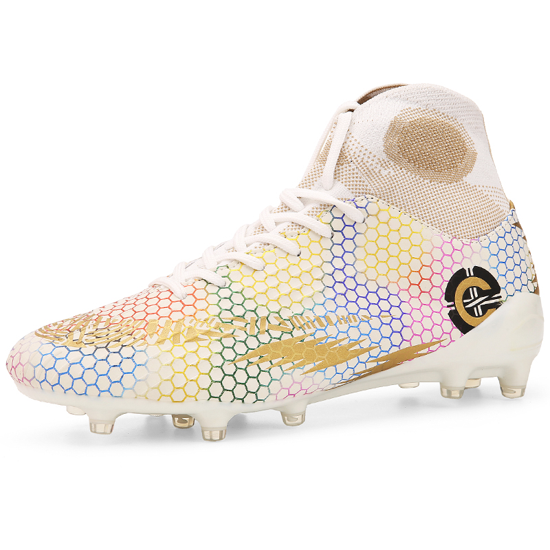 Men Football Boots Soccer Cleats Boots Long Spikes TF Spikes Ankle High Top Sneakers Soft Turf Futsal Soccer Shoes