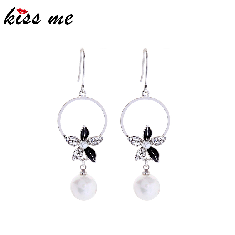Kiss me 925 Argent Post émail Fleur Unique Personnalisé Boucles d/'oreilles pendantes ed02061d