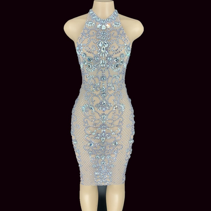 Mesh Silver Glass Rhinestones Transparent Halter Dress Birthday Celebrate Dress Bar Prom Outfit Women Dance Dress YOUDU
