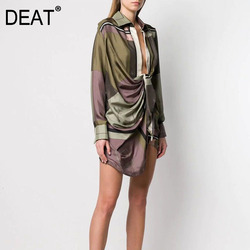 DEAT 2021 Leisure Full Sleeve Asymmetrical Empire Waistline Knee Length Dresses Women V Neck Loose Print Dress Autumn New TD660