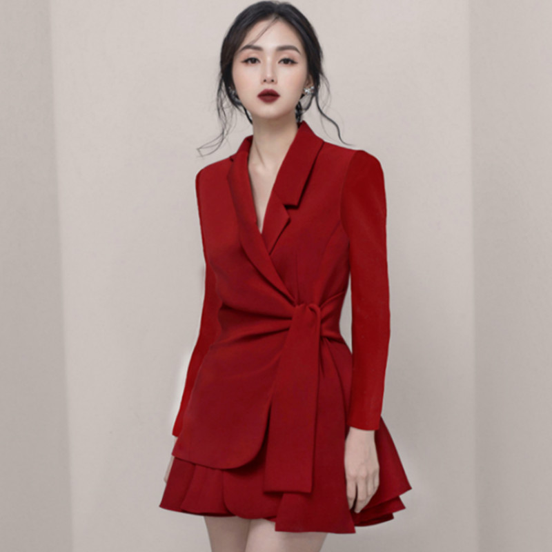 Autumn Notched Solid Casual Office Blazer Skirt Women Two Piece Sets Work Suits Dress 8