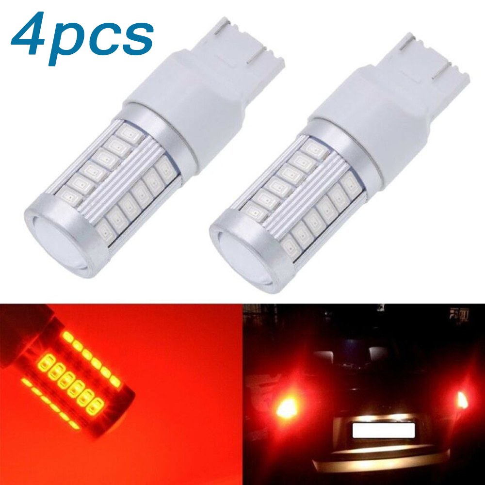 4pcs Car T20 LED Lights 12V <font><b>W21</b></font> <font><b>5W</b></font> 7443 7440 5630 33SMD LED Auto Backup Reverse LED Light Bulbs Aluminum Plastic image