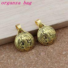30pcs Antique gold 3D Saint Benedict Cross Dangle Charm Beads Fit necklace 17.5x25.5mm A-518a