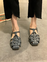 2021 Summer Sandals Women Buckle Strap Rome Shoes Casual Leather Flats Sandals Glaiator Sandalias Femininas Vintage Flat Shoe