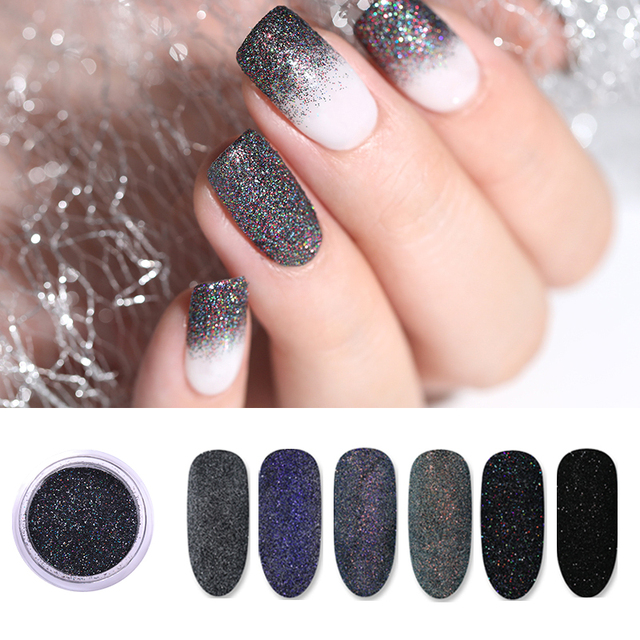 2/10g Nail Powder Sugar Sparkling Glittering Pigment Dust Hair Wool Holographic Nail Decoration Tips Nail Art Accessories