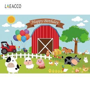 Laeacco Фотофон, ребенок мультфильм сельская ферма подано ветряная мельница день рождения деревянный забор плакат фотографический фон фотост...