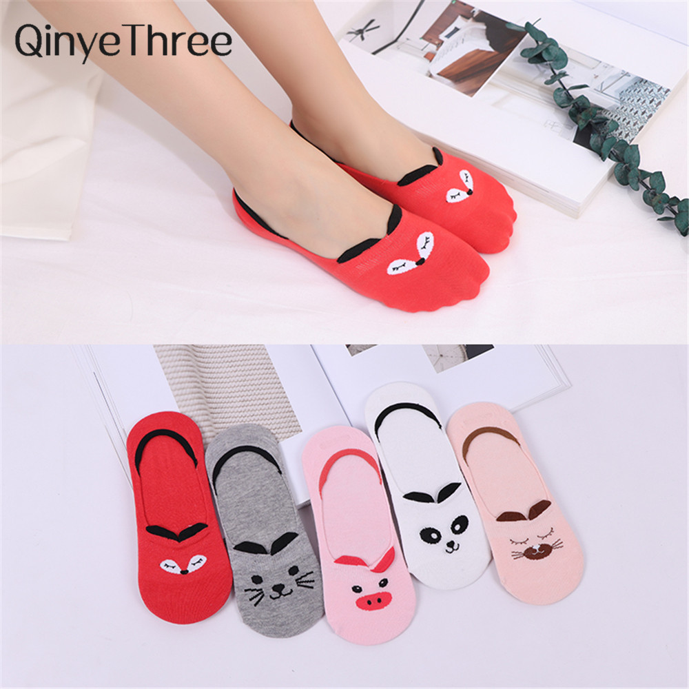 Girls Fashion Summer Funny Cute Cartoon Little Bear Cat Fox Dog Panda Pig 3D Eared No-show Socks Kitten Bunny Non-slip Invisible