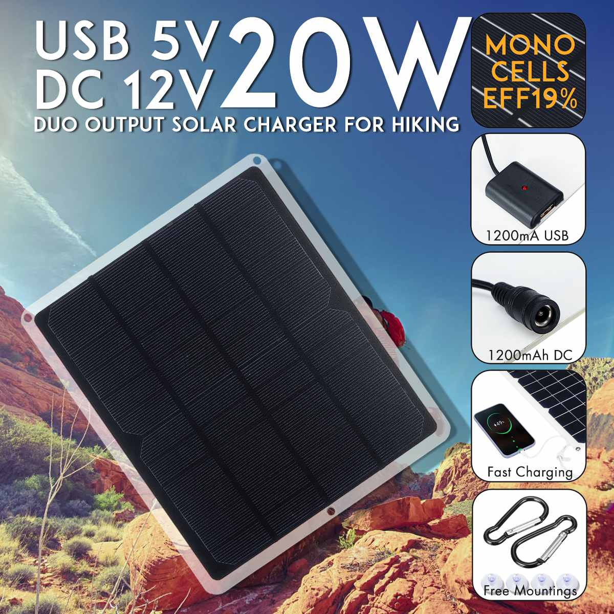 Kinco USB DC 12V 5V Solar Panel 20W Outdoor Portable Solar Cells Fast Soalr Charger For Battery Chargers Cigarette Lighter image