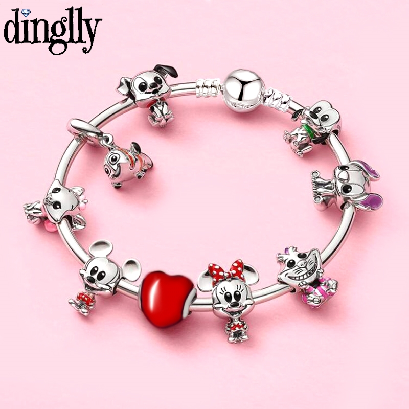 Dinglly Cartoon Cheshire Cat Stitch Bruto Charm Bracelet Bangle With Clown Fish Pendant DIY Bracelet For Women Girl Jewelry Gift(China)