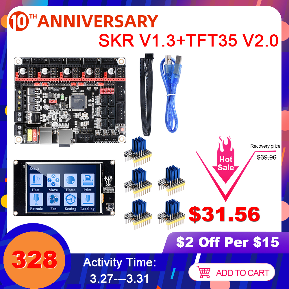 BIGTREETECH SKR V1.3 Control Board+TFT35 V2.0+BLtouch+TMC2208 TMC2209 UART TMC2130 3D Printer Parts For Ender 3 SKR V1.4 Turbo