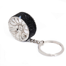 2019New Style Car Key chain Creative Diamond Alloy Keychain Wheel Rings Holiday Gift Styling Decoration CFKoo1