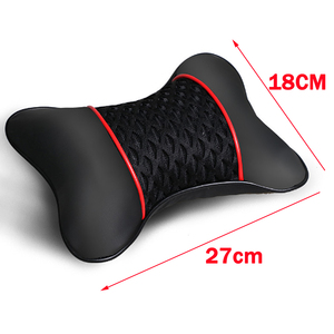 Image 5 - 2Pcs PU Leather Knitted Car Pillows Headrest Neck Rest Cushion Support Seat Accessories Auto Black Safety Pillow Universal Decor