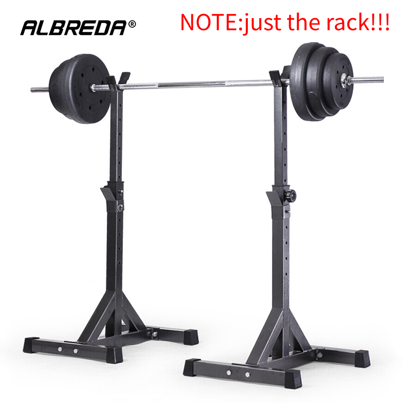ALBREDA High-quality Adjustable Squat Stand Barbell Rack Barbell Squat Body Frame Weight Lifting Barbell Rack Fitness Equipments