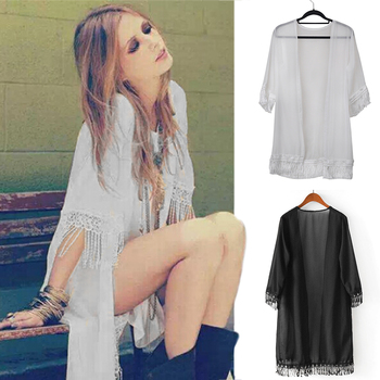 Popular Women Tassels Beach Long Shirt Dress Lace Chiffon Beach Cover Ups Bathing Sunscreen Cardigan Clothes 2