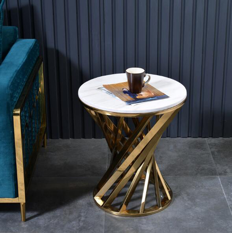 Creative Marble Sofa Side Table Living Room Coffee Table Stainless Steel Frame Center Table Home Furniture Simple End Tables