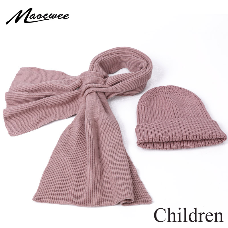 Children Winter Skullies Beanies And Scarf Set Solid Color Knitted Thick Warm Bonnet For Girls And Boy Simple Kids Hat Scarf Set