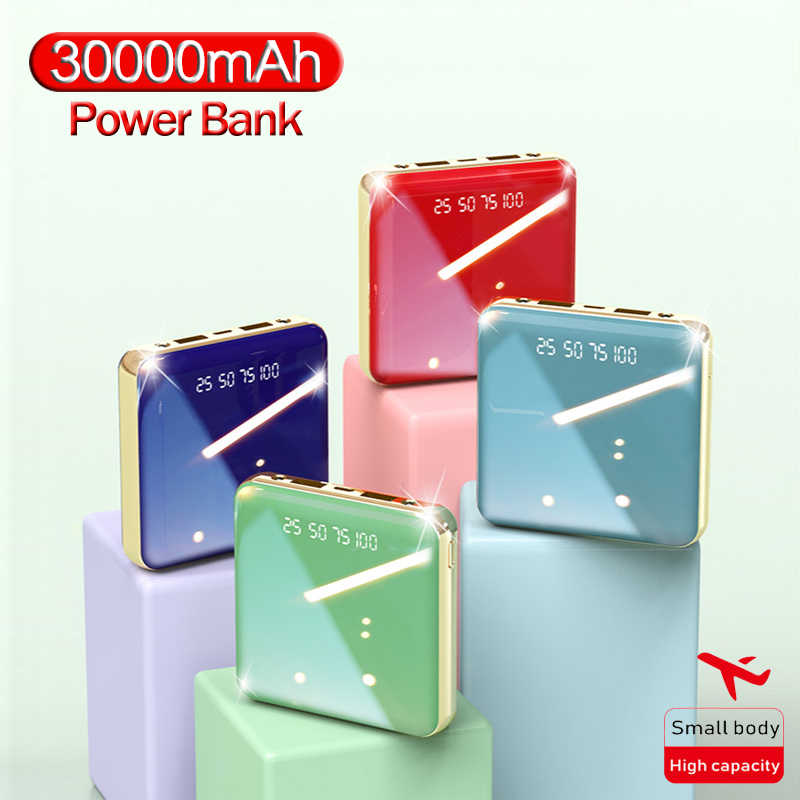 30000 mah電源銀行ポータブルミニ電話充電器xiaomi iphoneサムスンとスマートフォン屋外旅行powerbank led照明