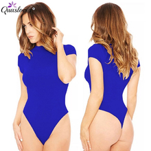 Short Sleeved Bodysuit for Women Casual Solid Cotton Fitness Summer One-pieces Bodysuits