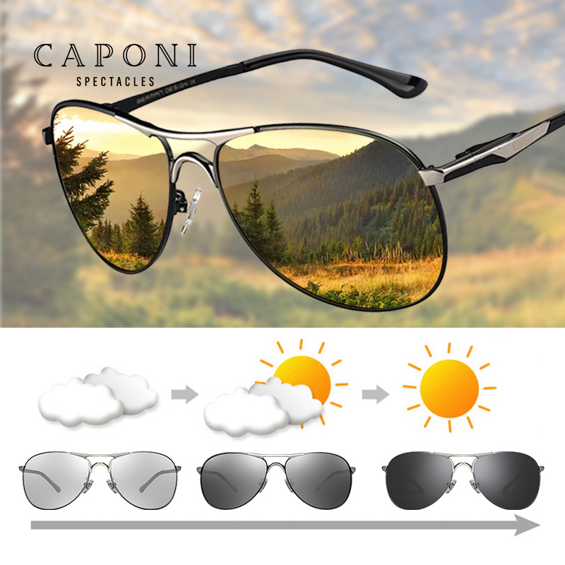 CAPONI Men's Sunglasses Photochromic Classic Style Alloy Eyewear Vintage Polarized Lens Avation Sun Glasses For Men UV400 BS8722 Men's Sunglasses  - AliExpress
