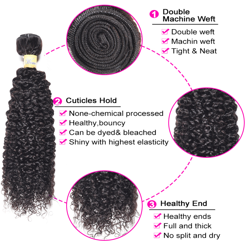Image 4 - WOME Curly Hair Bundles Peruvian Human Hair 1/3/4 Bundles Natural Color 10 26 Inches Non remy Hair Weave ExtensionsHair Weaves   -