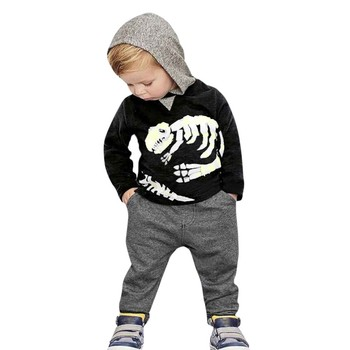 Infant Clothing Toddler Kids Baby Girls Boys Dinosaur Bones Clothes Set Hooded Tops+Pants Outfit Kids Clothing Sets Baby Suit spring autumn baby boys girls clothes toddler baby kids hooded cartoon 3d ear hoodie sweatshirt tops clothes infant clothing