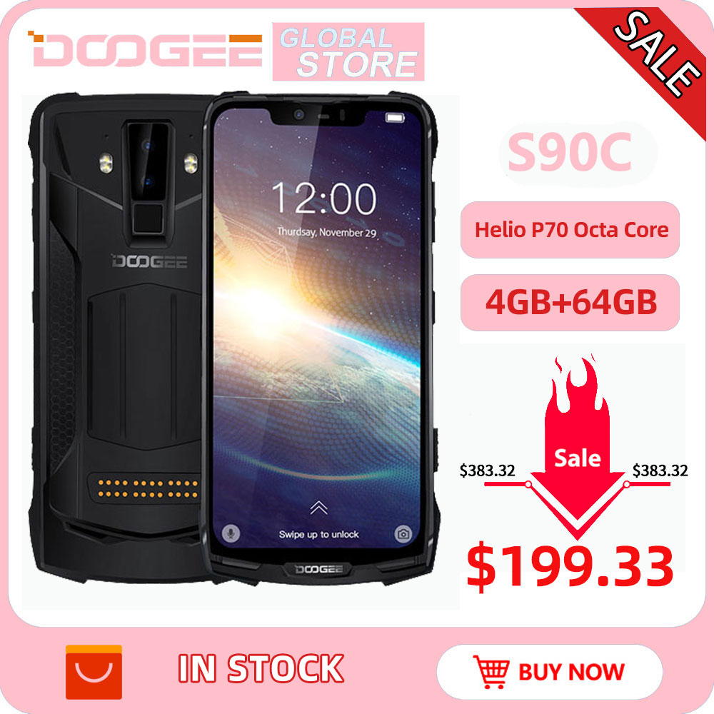 IP68 DOOGEE S90C Modular Rugged Mobile Phone Helio P70 Octa Core 4GB 64GB 16MP+8MP 6.18inch Display 12V2A 5050mAh Android 9.0