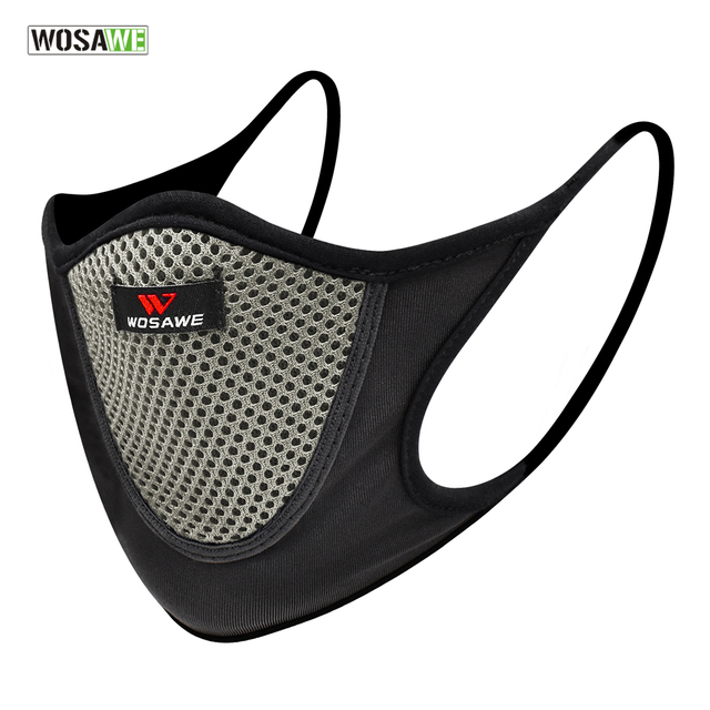 WOSAWE Sports Cycling Face Mask Anti-pollution Breathable Anti-UV Windproof Half Face Shield Washable Mask With Filter Men