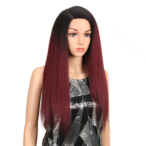 Image 3 - MAGIC Hair Synthetic Wigs For Black Women 28 Inch 70CM Heat Resistant Fiber Hair Long Ombre Brown Yaki Straight Lace Front Wig