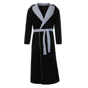 Men BathRobe Flannel Hooded Thick Casual Winter Autumn Long Kimono Robe Warm Home Sleepwear Bath Robe Pajama Nightgown