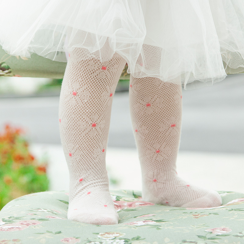Spring Girls Mesh Long Tights Baby Cotton Cute Flower Princess Pantyhose Kid 4 Color Bottoming Dance Hollow Out Fashion Stocking