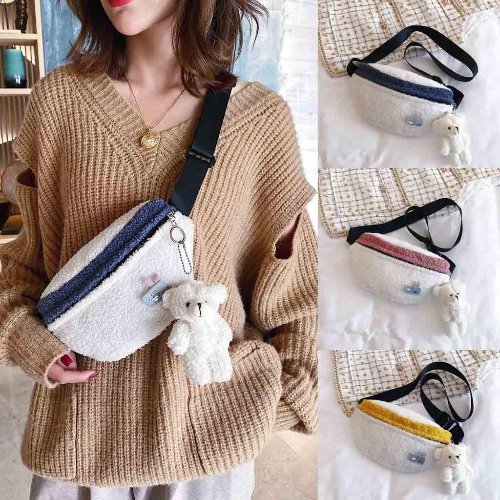 2019 New Women Waist Belt Bag Packs Bears Woolen Chest Money Bag New Casual Shoulder Messenger Bag Pochete Simple Pockets #C11