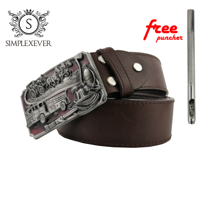 Mens Metal Belt Buckles Fire Dept BIG Belt Buckle Head Cowboy Belt Buckle with Belt Ready Stock