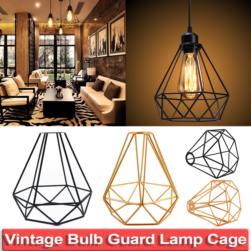 Vintage Lamp Shade Bulb Guard Lamp Cage Metal Pendant Ceiling Light Wall Lamp Guard Black/Gold Diamond Shape Hanging Lamp Shade
