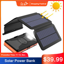 Powerbank solar impermeável do carregador de bateria externo solar áspero do banco de energia solar 25000mah com usb e lanterna dupla.