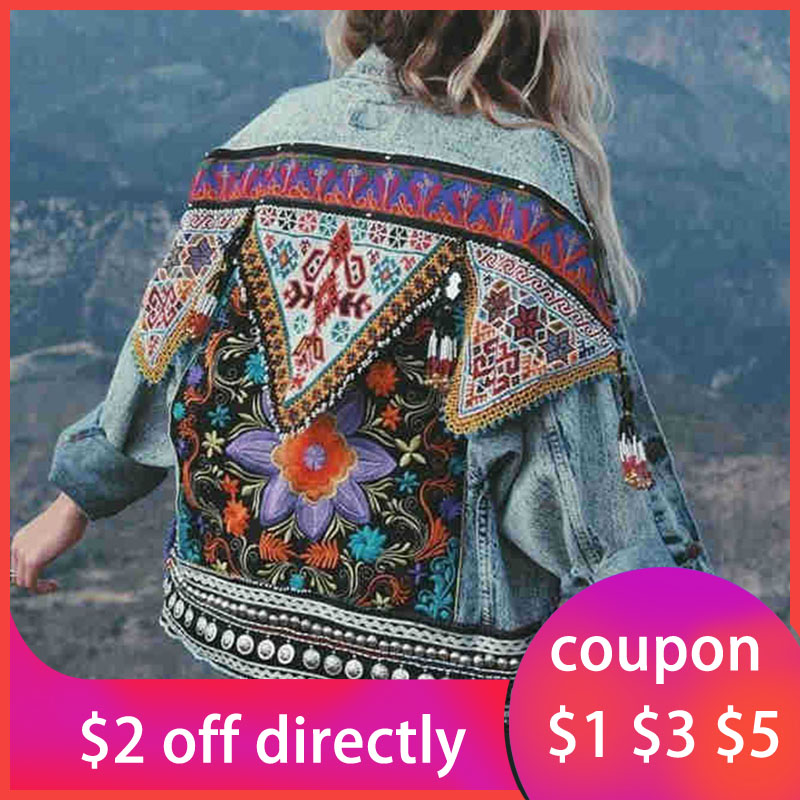 Bohemian Oversize Denim Jacket Women Embroidery Jean Coat Ethnic Vintage Streetwear Loose 2019 Women Autumn Jeans Jacket Outwear