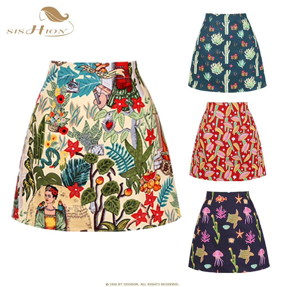 SISHION 2020 Summer Women's Vintage Mini Skirt SS0008 New Floral Print Flower High Waist Slim Skirts Sexy Girl Retro Female