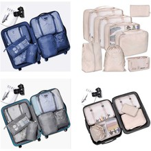 8pcs/set Travel Portable Luggage Organizers Waterproof Shoes Storage Bag Packing Pouches Suitcase Packing Cube Case SWWQ