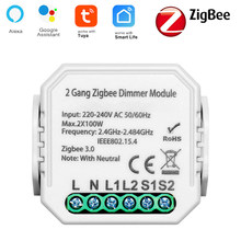 Tuya Smart ZigBee Dimmer Switch Module 1gang 2gang With Neutral 2 Way Wireless Control Switch Relay Support Zigbee2MQTT