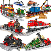 Ausini, cidade, modelo de trem, blocos de construção, carrinho de carga, estação ferroviária de passageiros, trilhos, locomotive, brinquedos de construção