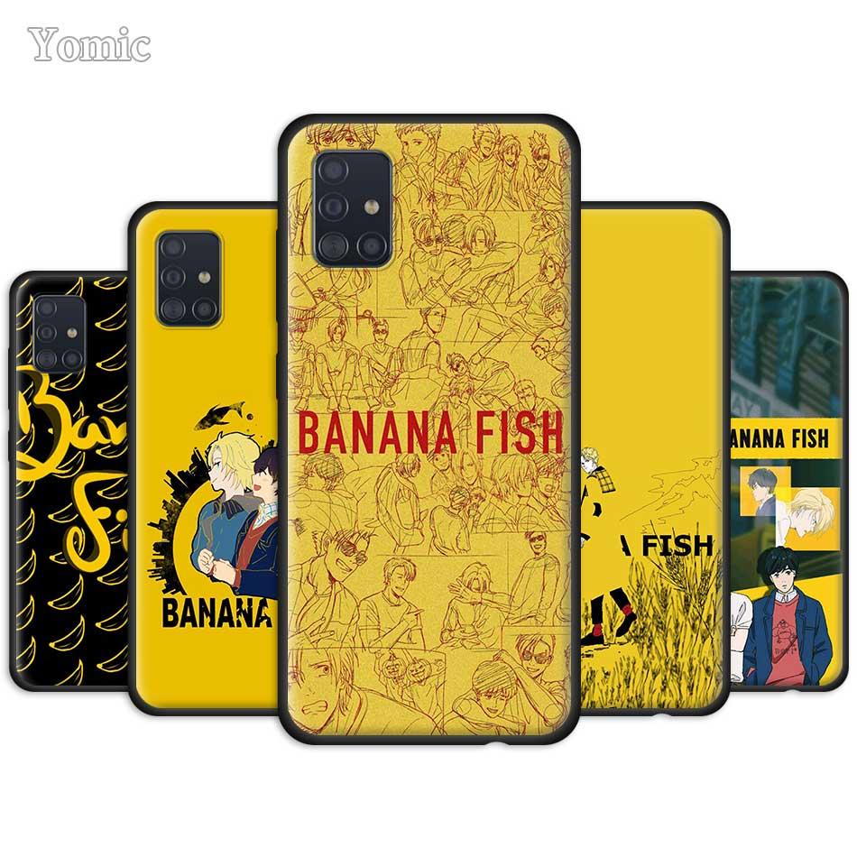 Banana pescado funda para Samsung Galaxy A51 A71 A21 A81 A91 A01 S20 Ultra 5G S10 Plus de silicona negro TPU cubierta del teléfono Chica Anime de dibujos animados de Japón TPU suave funda de silicona para el modelo samsung galaxy A7 A8 A9 2018 A10S A20S A30S A40S A50S A60 A70 J6