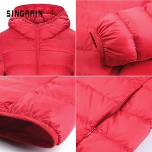 Image 5 - SINGRAIN зимнее 95% утиный пух куртка пуховик теплое однотонная портативная женский большой размер пальто пуховик