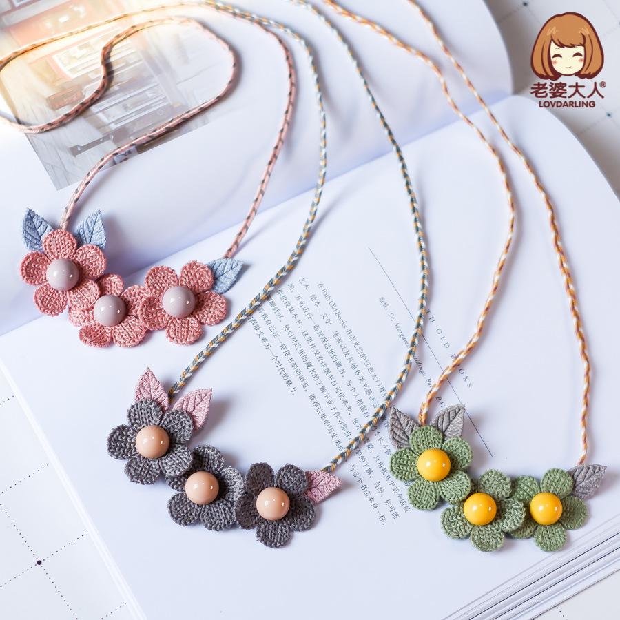 His Wife Flower Fairy Pearl Yarn Flower Spring CHILDREN'S Necklace Sweater Chain Choker Necklace Accessories