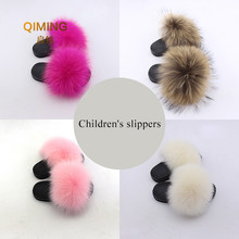 Children's Furry fox fur slippers kids Boy girl fashion slip non-slip wear fur casual beach shoes Multicolor Sandals Slides(China)