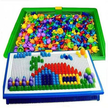 296PCS/set mushroom nails, Puzzle educational and intelligence games. For 3-9Y baby
