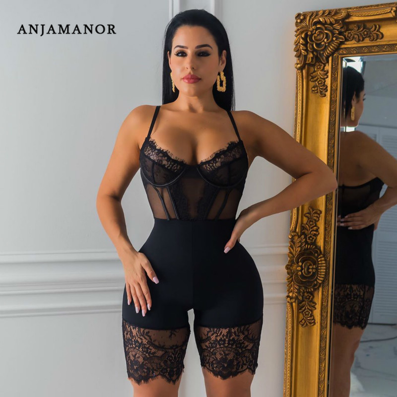 ANJAMANOR Black Lace Mesh Sheer Bodycon Jumpsuit One Piece Women Clothes Sexy Fall Outfits Clubwear Party Romper Playsuit D30AC3